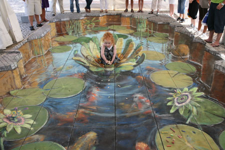 Feeding Fish Chalk Painting