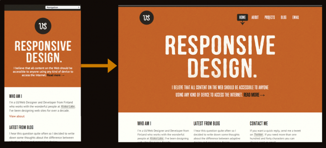 Responsive design navigation menu