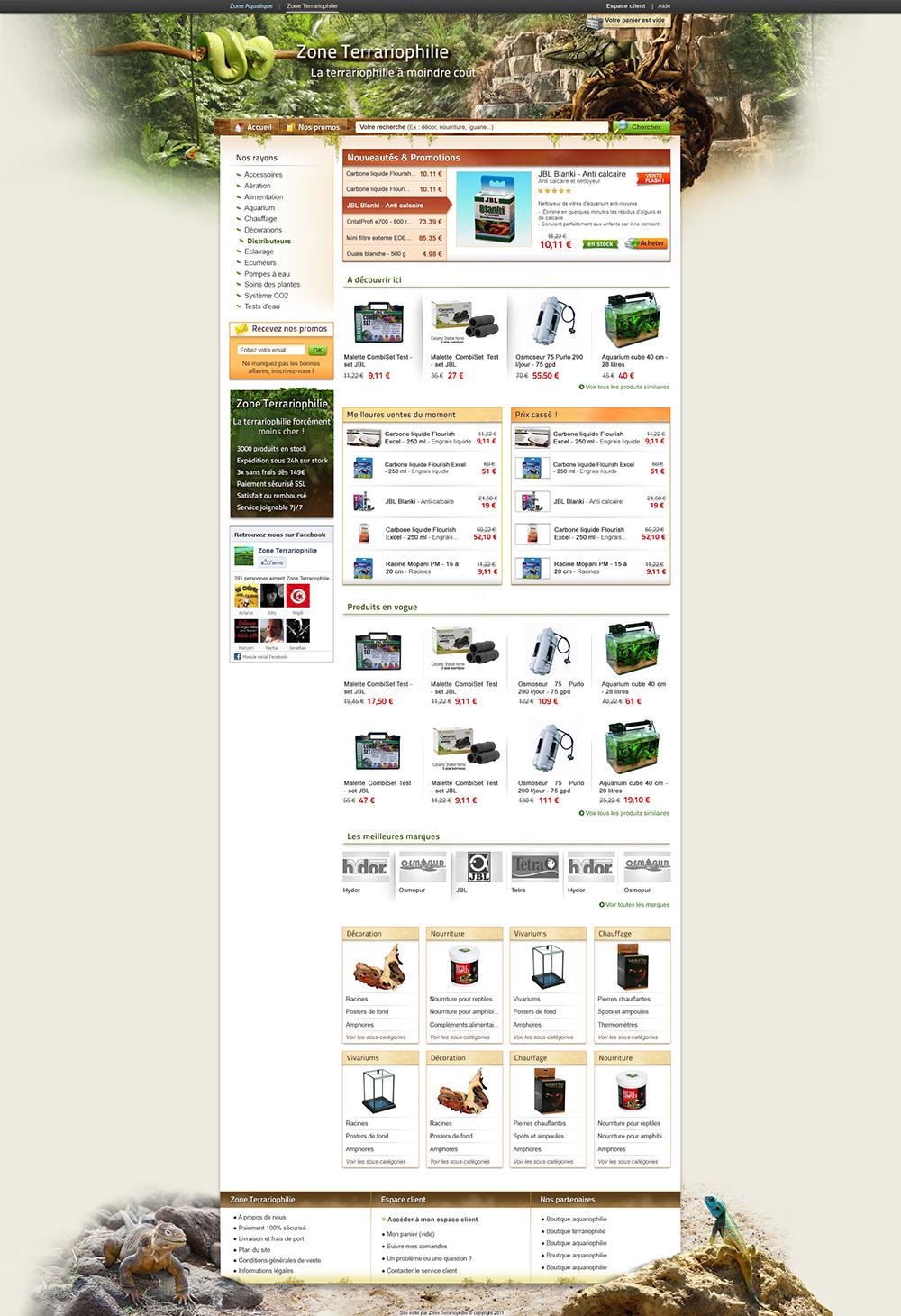 E-commerce web design commissioned by Zone Aquatique