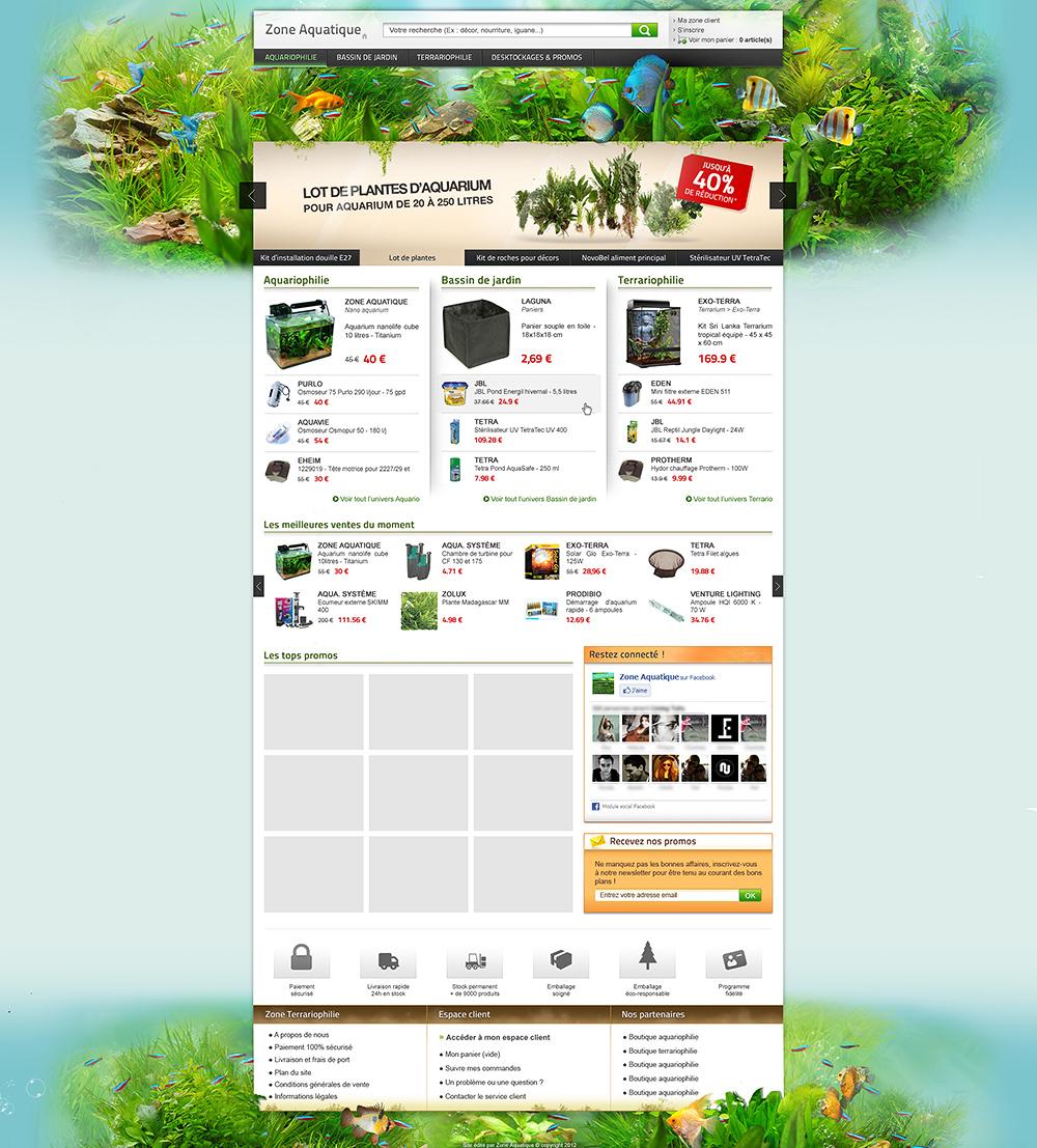 Zone Aquatique web design e-commerce
