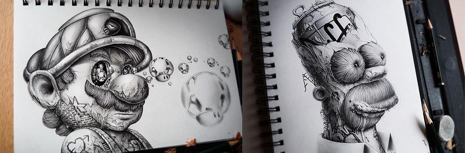 Les personnages de dessins animés revisités par PEZ en dessin (et autres croquis !)