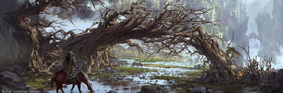 Les superbes digital paintings d'environnements de Gliulian