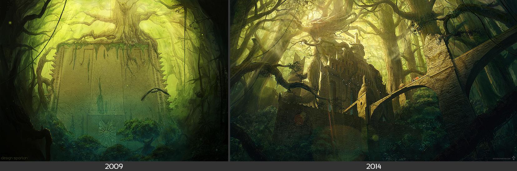 Comparaison : «The Fortress II», digital painting de Spartan