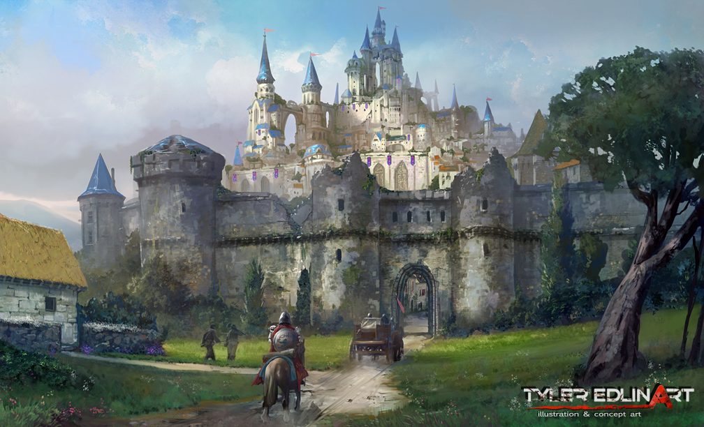 Les digital paintings d'environnements de fantasy de Tyler Edlin