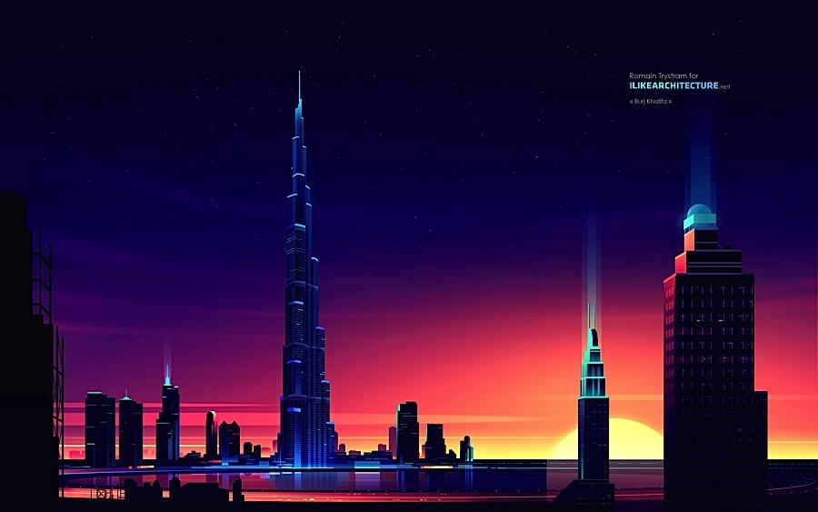 Les plus grands grattes-ciel illustrés en couleur par Romain Trystram
