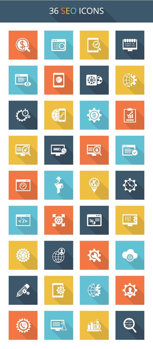 """36 icônes """"flat"""" de SEO à télécharger gratuitement en exclusivité"""
