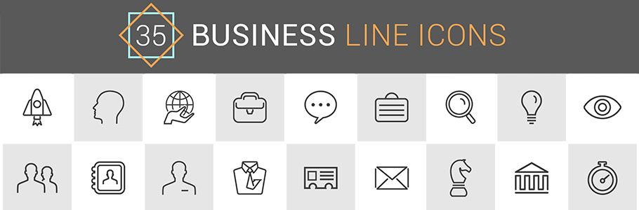 35 icônes de business minimalistes exclusives pour vos designs