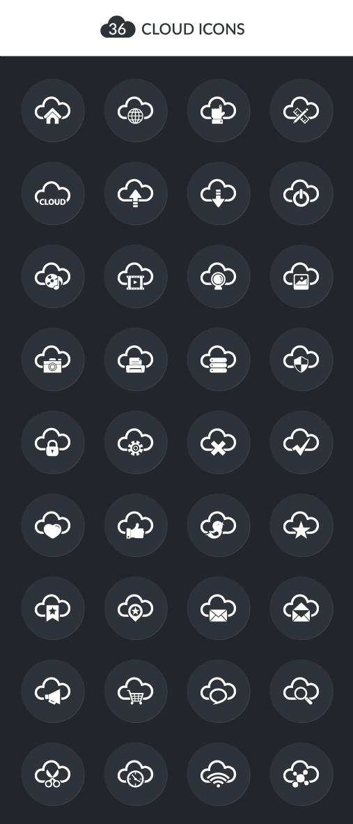 """36 icônes """"cloud"""" de qualité à télécharger en exclusivité"""