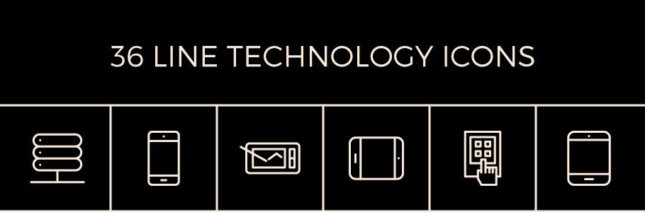 36 icônes en contour gratuites sur le thème des technologies en exclusivité