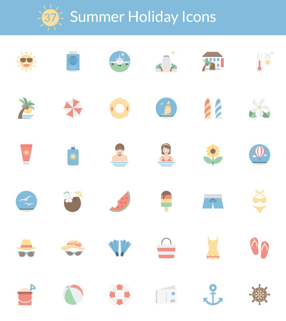 36 Icônes sur le thème des vacances d'été à télécharger gratuitement en exclusivité