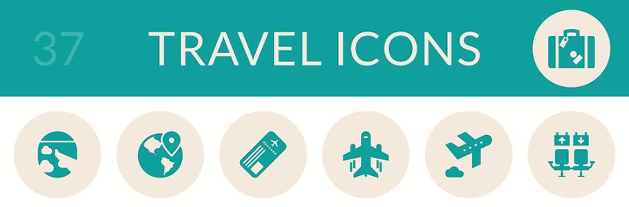 37 icônes en flat design sur le thème du voyage gratuites en exclusivité