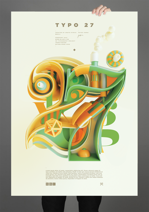 Les illustrations et typographies créatives 3D du graphic designer Peter Tarka