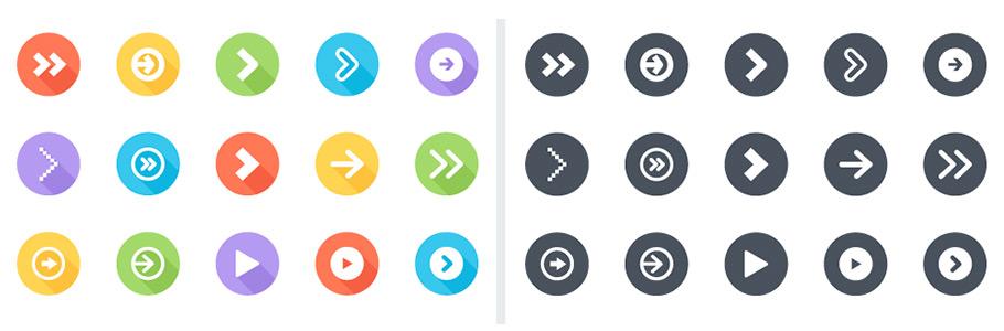 4 Packs de 26 icônes de flèche