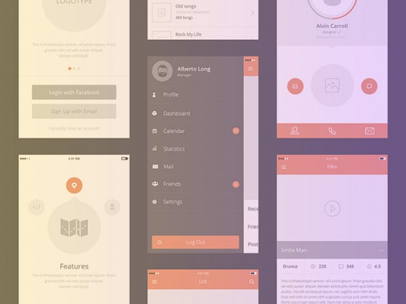 25 ressources pour design d'applications mobiles en PSD et vectoriel