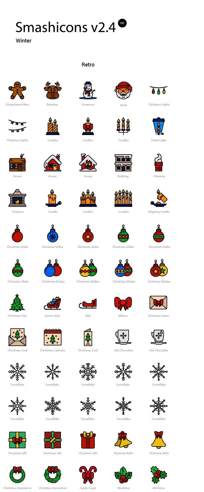 100 icônes sur l'hiver + 10 photos de Noël à télécharger gratuitement