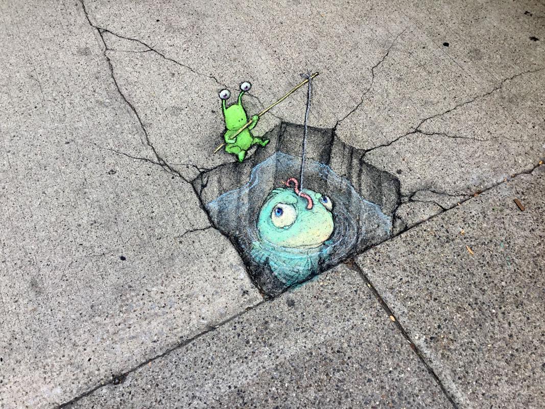 Le street art mignon à la craie de David Zinn