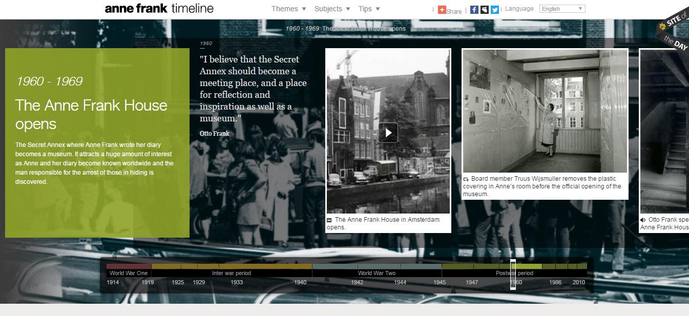 exemples de sites web basés sur une timeline