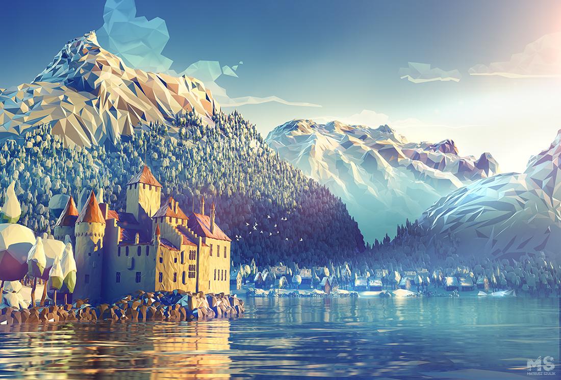 Les mondes en 3D low poly de Mat Szulik