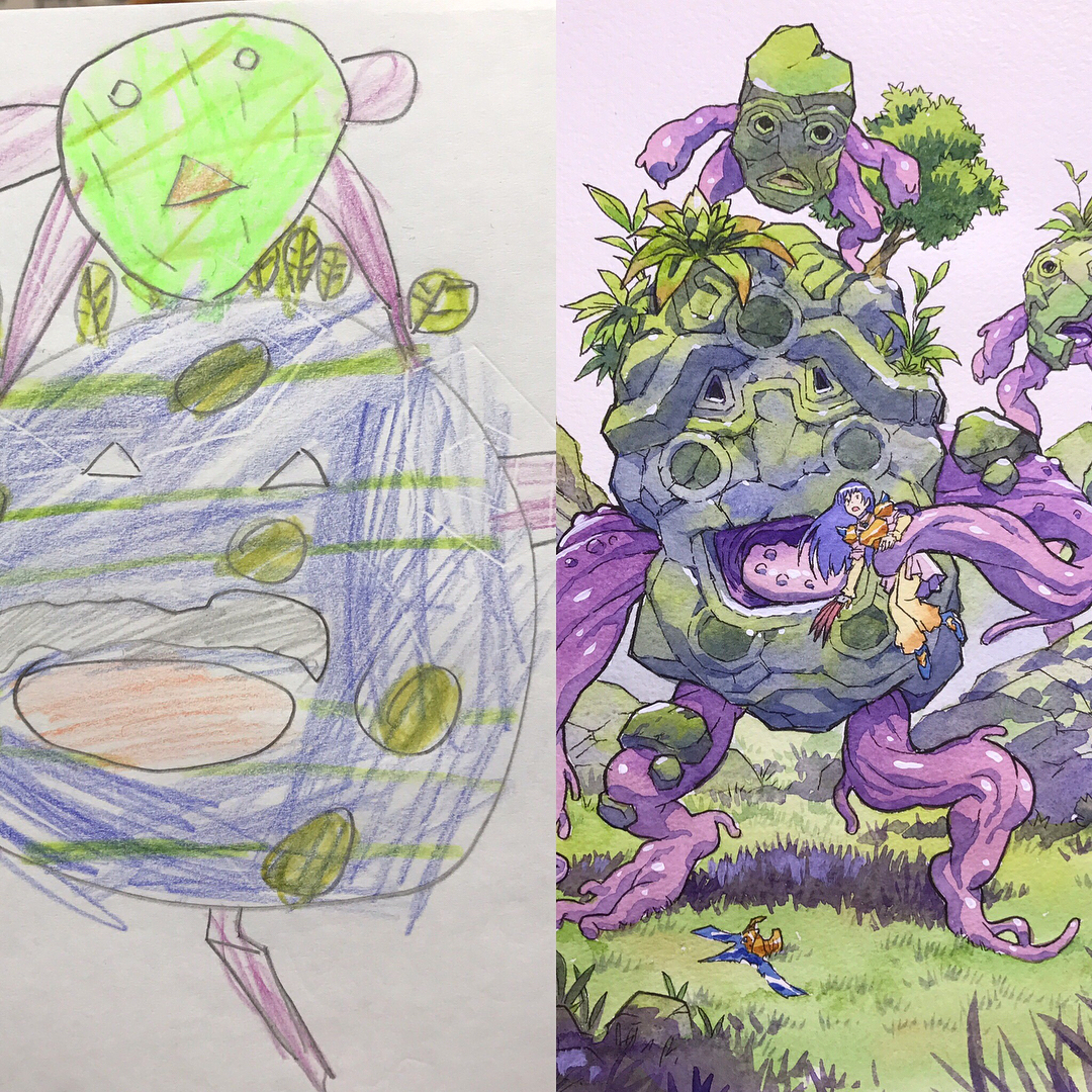 Les dessins de son enfant revisités par Thomas Romain de manière hallucinante