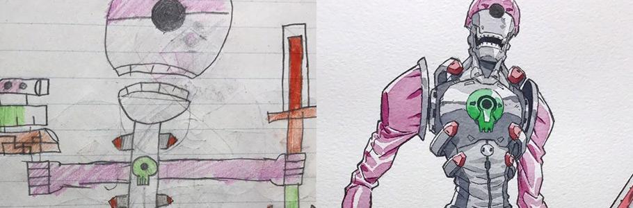 Les dessins de ses enfants revisités par Thomas Romain de manière hallucinante