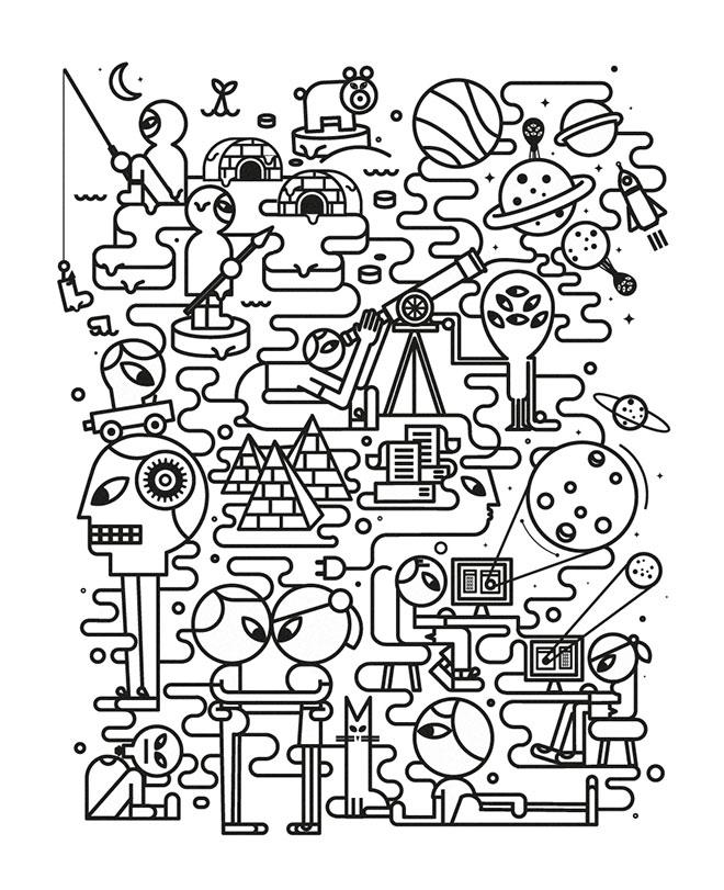 25 Créations vectorielles de line art avec motifs et formes détaillés