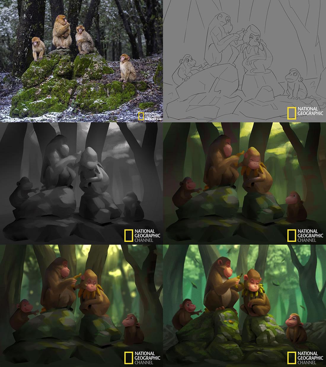 Magnifiques stylisations en digital painting de photos de National Geographic