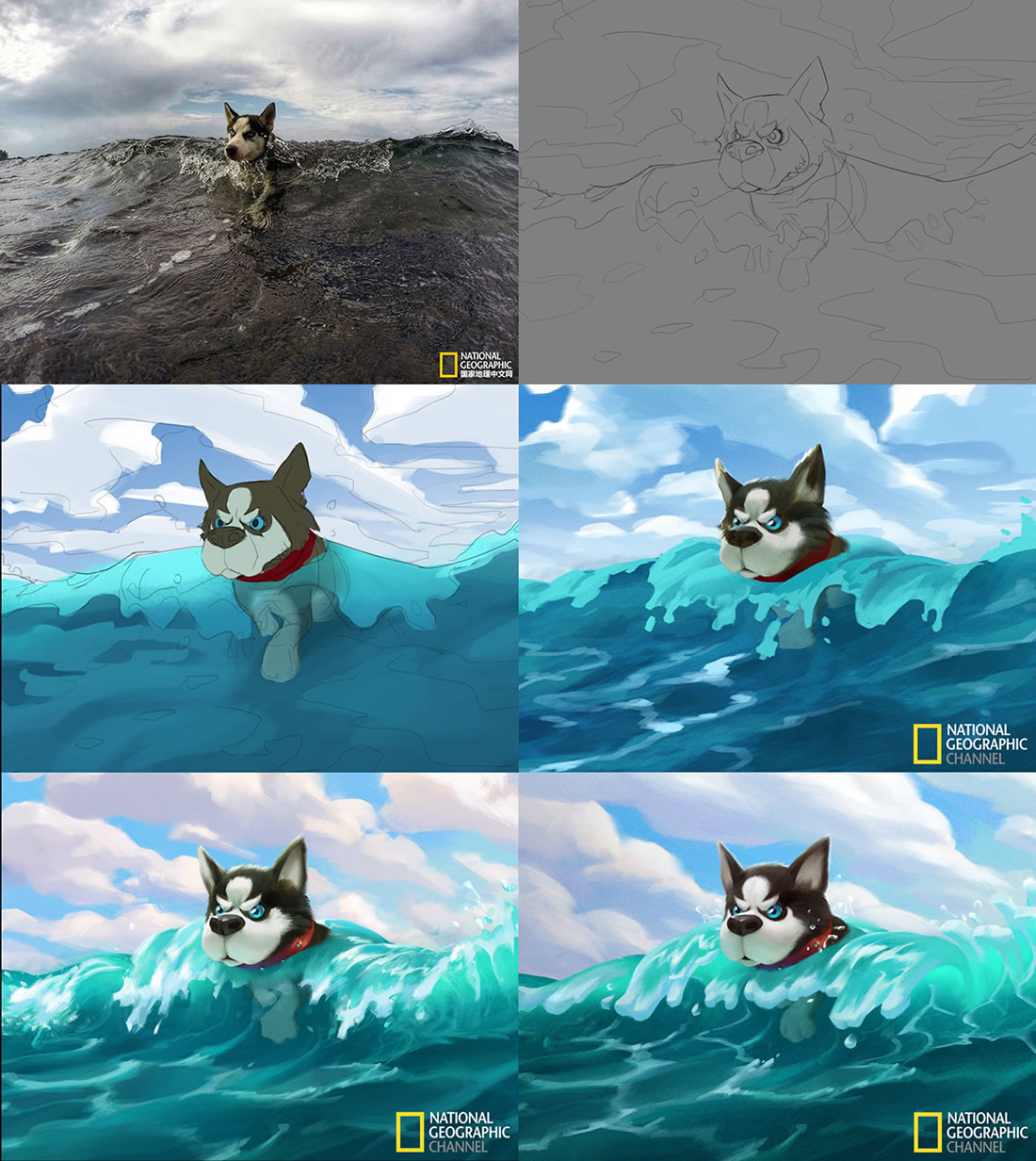 Magnifiques stylisations en digital painting de photos de National Geographic