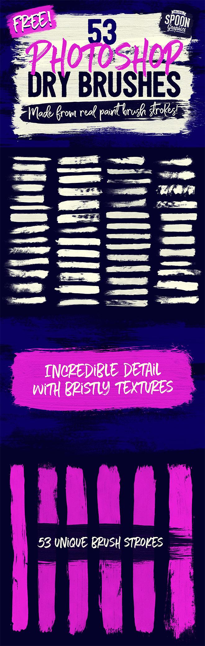 53 Brushs Photoshop gratuits imitant des pinceaux secs