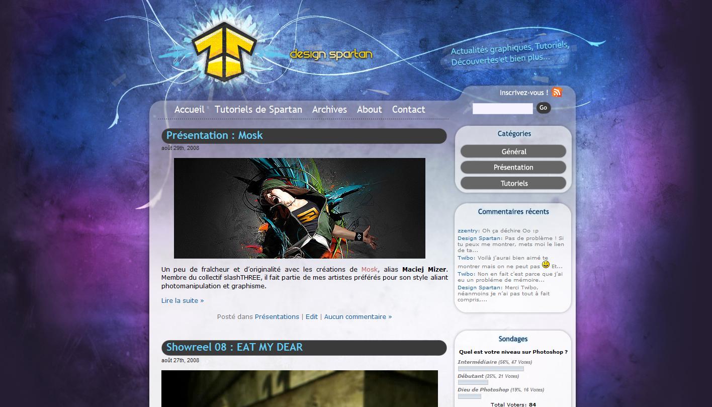 Le premier design du blog