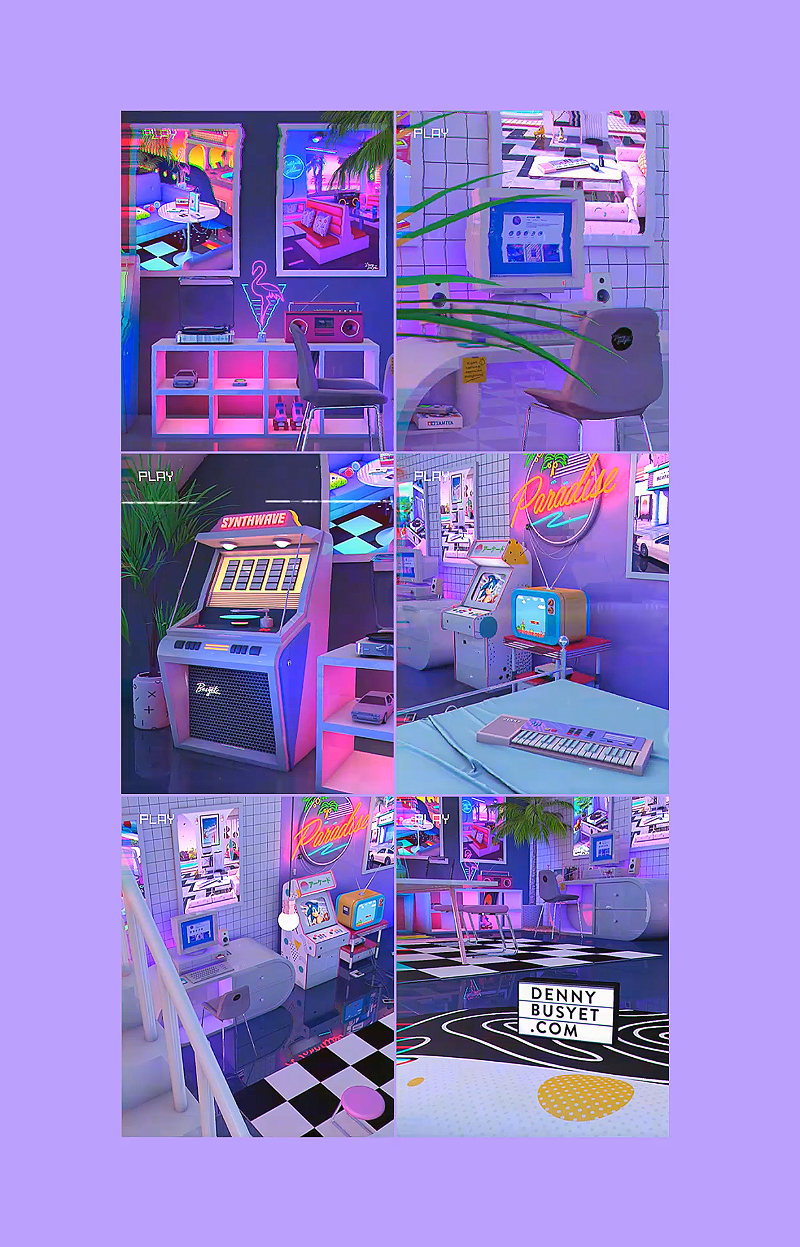 Art digital : Les scènes 3D inspirées de synthwave de Denny Busyet