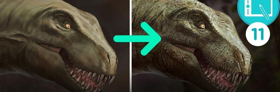 Série vidéo 3 : photobashing tête de dinosaure